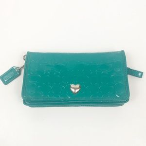 Coach Logo Embossed Teal Wallet